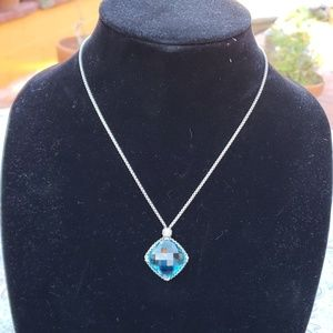David Yurman Blue Topaz Pendant on Silver Chain